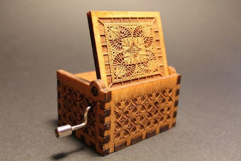 Image of Engraved Wooden Music Box Singing In The Rain