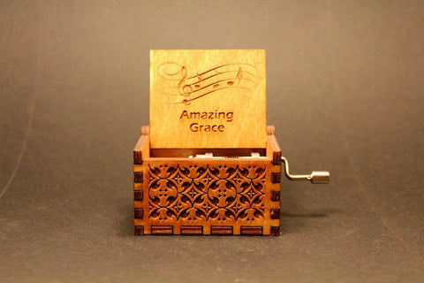 Image of Engraved Wooden Music Box Amazing Grace - Christian Hymn