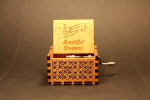 Engraved Wooden Music Box -  Beautiful Dreamer