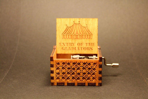 Engraved Wooden Music Box -  Entry Of The Gladiators