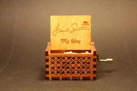 Engraved Wooden Music Box -  Frank Sinatra My Way