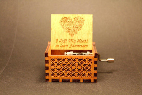 Image of Engraved Wooden Music Box -  I Left My Heart In San Francisco