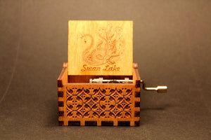 Engraved Wooden Music Box -  Swan Lake