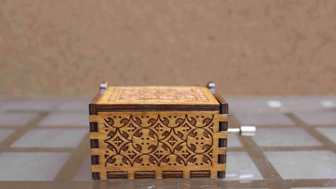 Image of Engraved Wooden Christmas Music Box