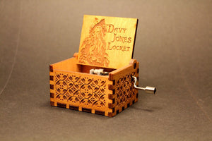 Engraved wooden music box Davy Jones Locket