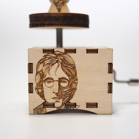 "Image of John Lennon ""Imagine"" Song - Handmade Wooden Music Box (Limited Edition)"