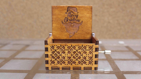 Engraved Wooden Christmas Music Box