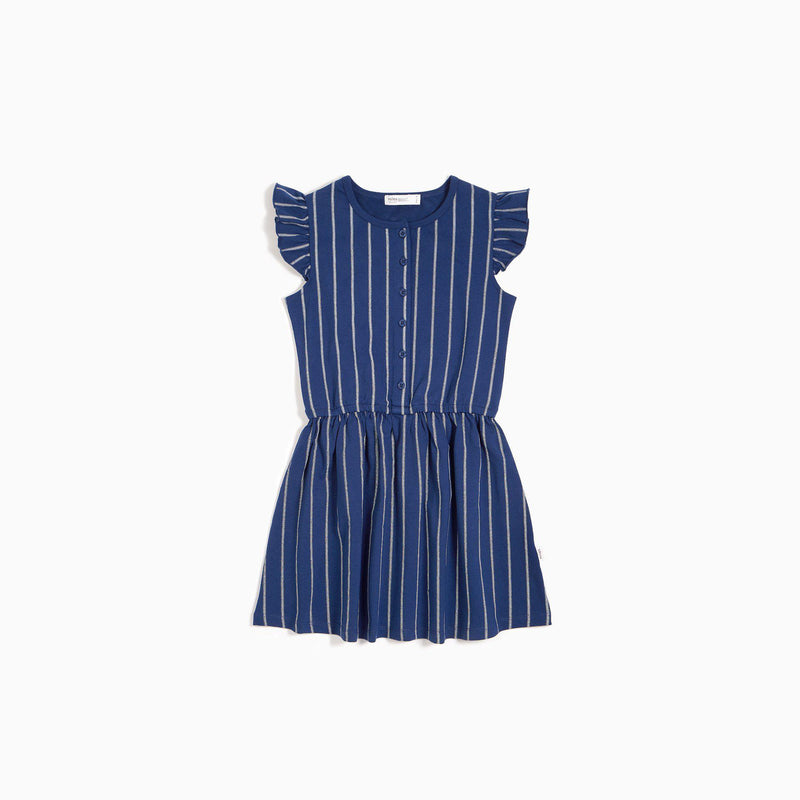 Miles Baby Dress - Blue Stripe Flutter