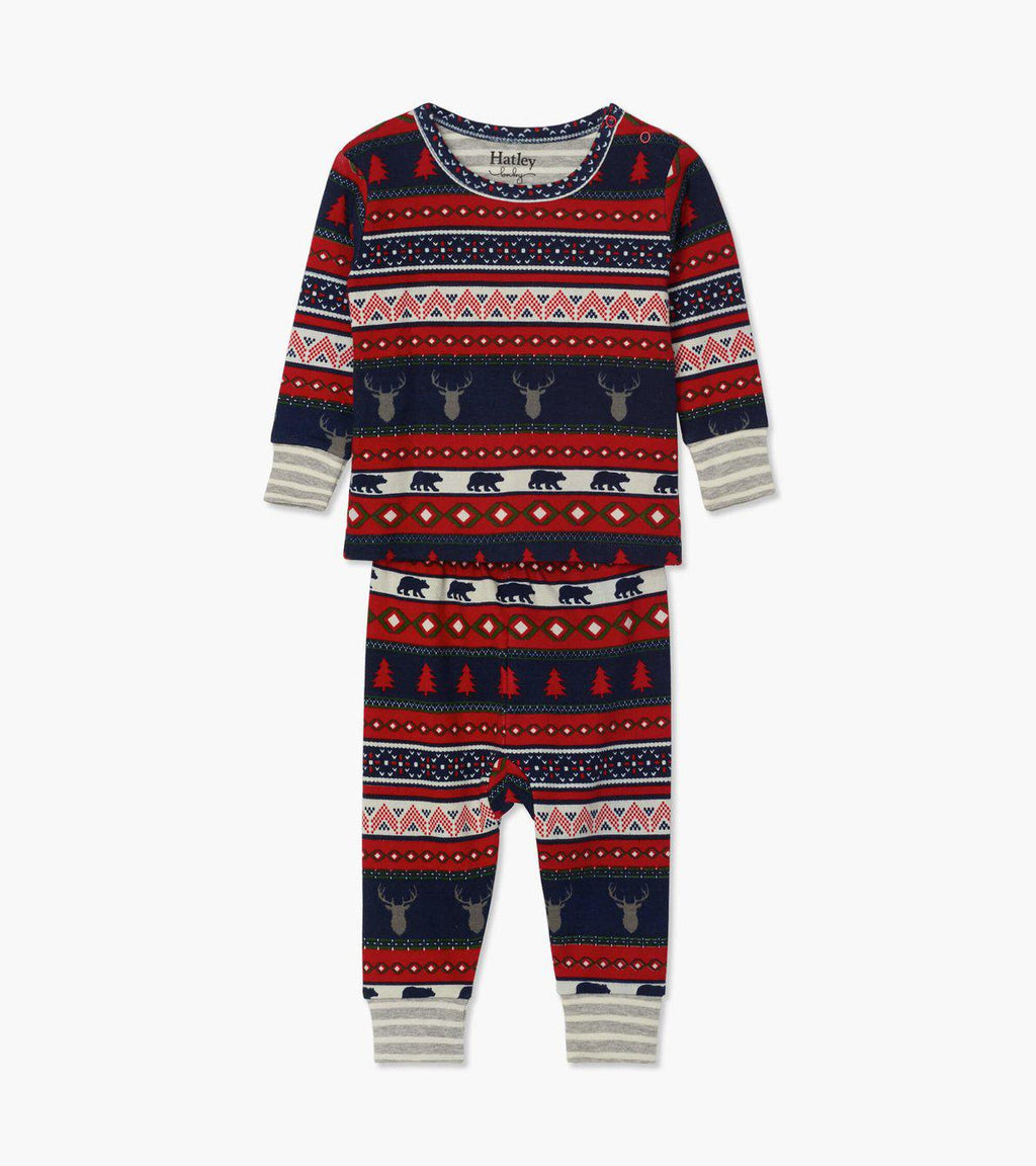 Hatley Baby Organic Cotton Pajama Set - Fair Isle Stags