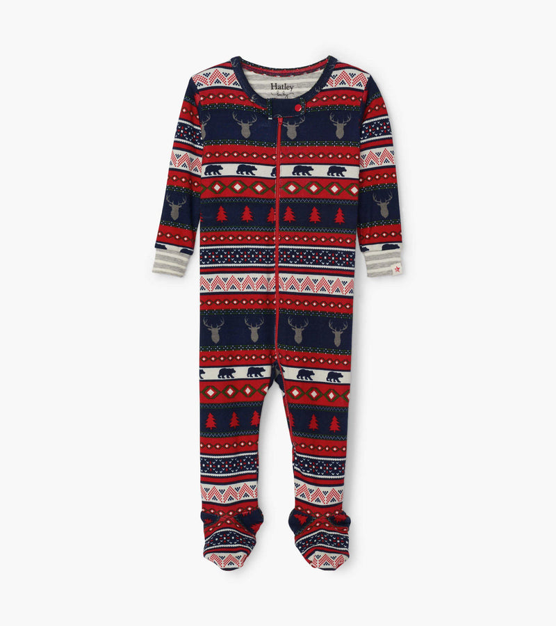Hatley Baby Organic Cotton Footed Coverall - Fair Isle Stag