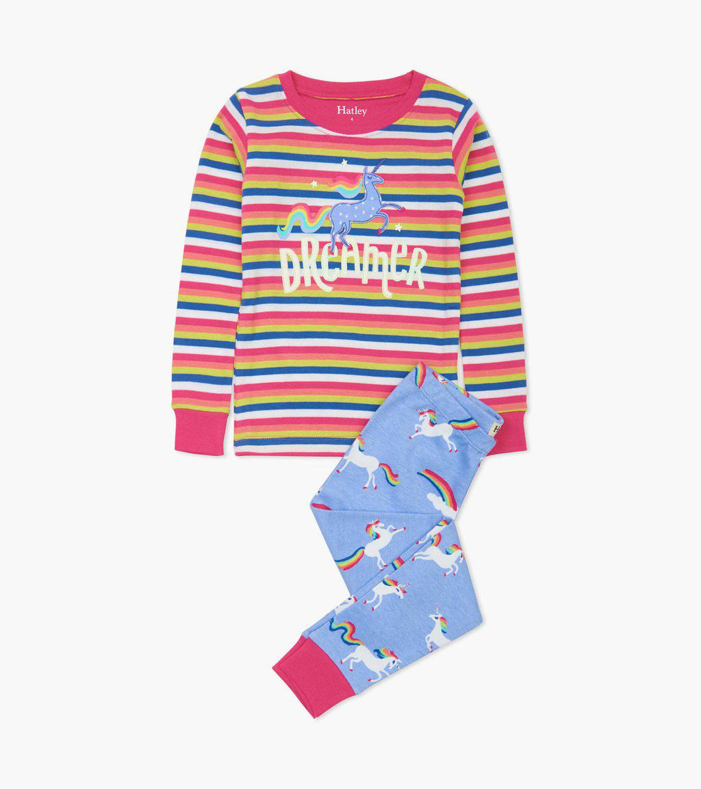 Hatley Organic Cotton Pajama Set - Rainbow Unicorns Applique