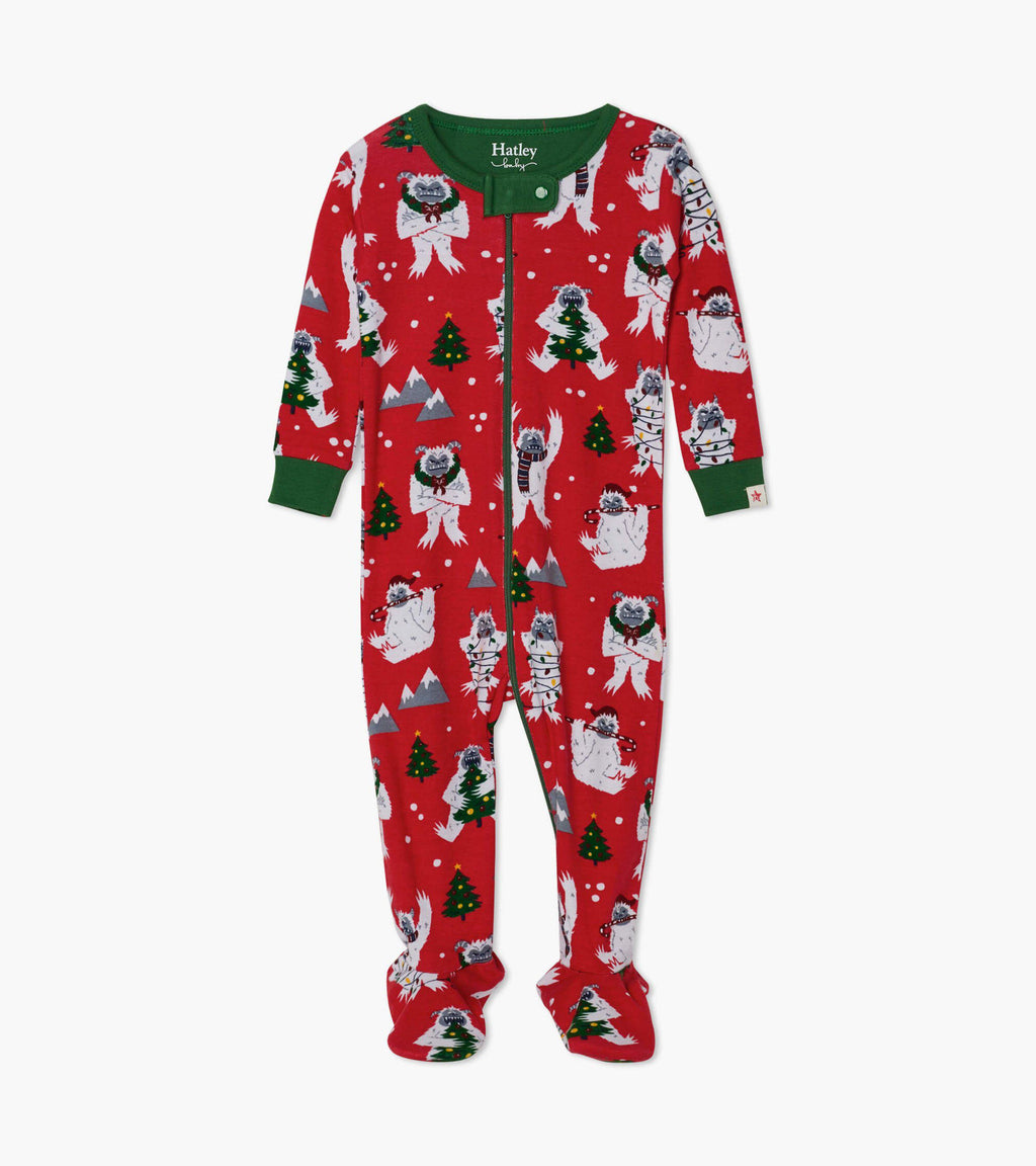Hatley Baby Organic Cotton Footed Coverall - Yuletide Yetis