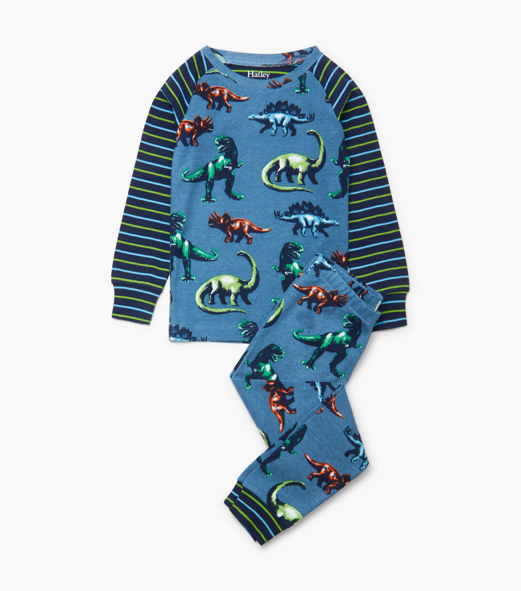 Hatley Organic Cotton Pajama Set - Painted Dinos