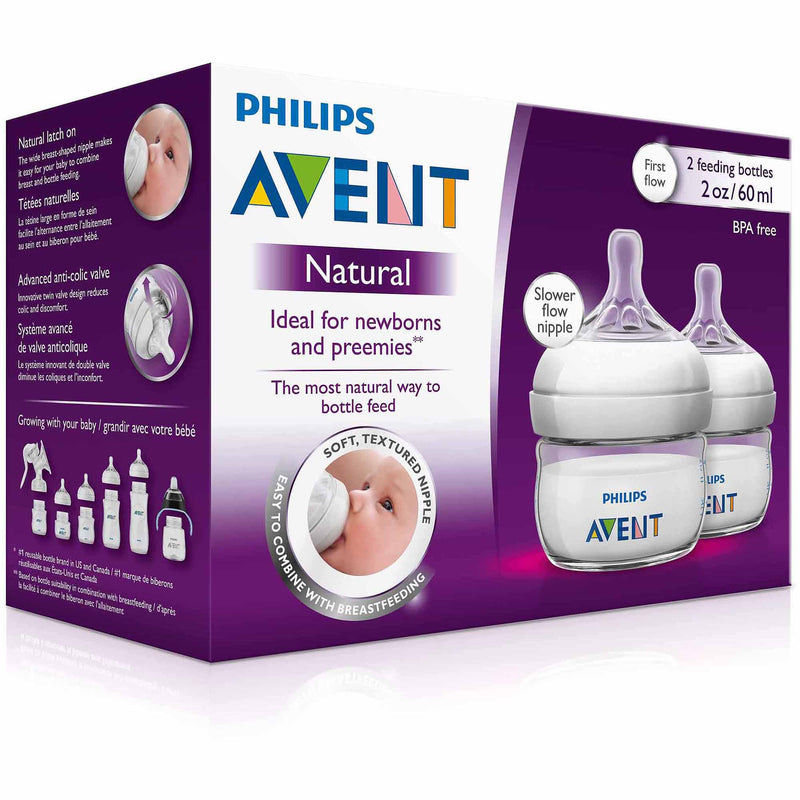 Avent Natural Bottles 2oz 2pk