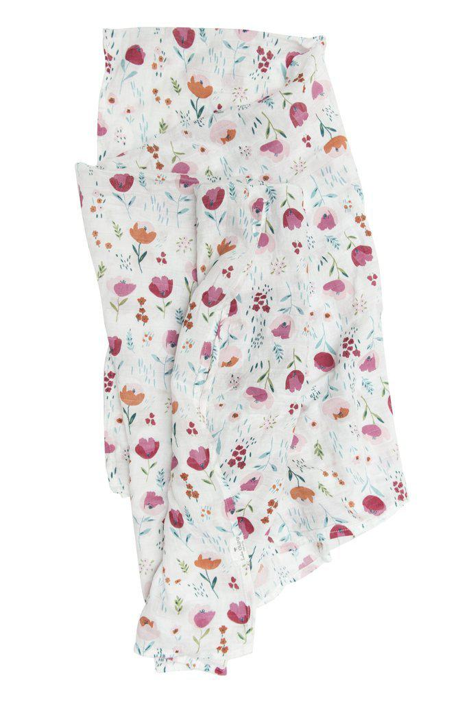LouLou Lollipop Muslin Swaddle - Rosey Bloom