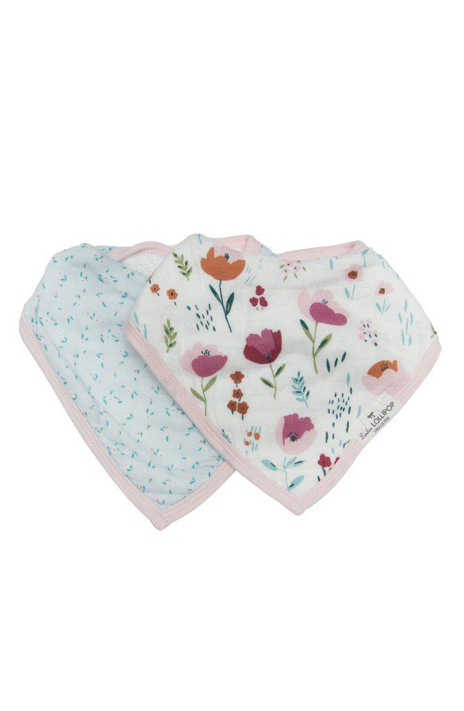 LouLou Lollipop Bandana Bib Set - Rosey Bloom