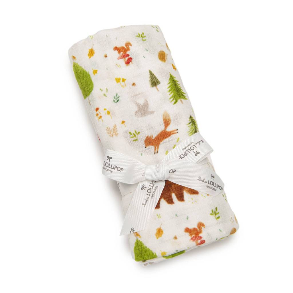 LouLou Lollipop Muslin Swaddle - Forest Friends