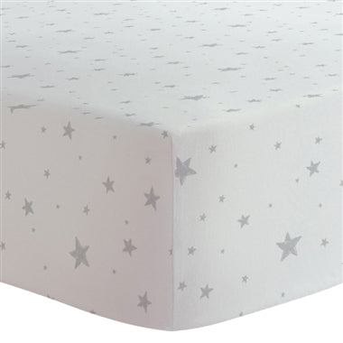 Kushies Flannel Fitted Crib Sheet - Blue Scribble Stars