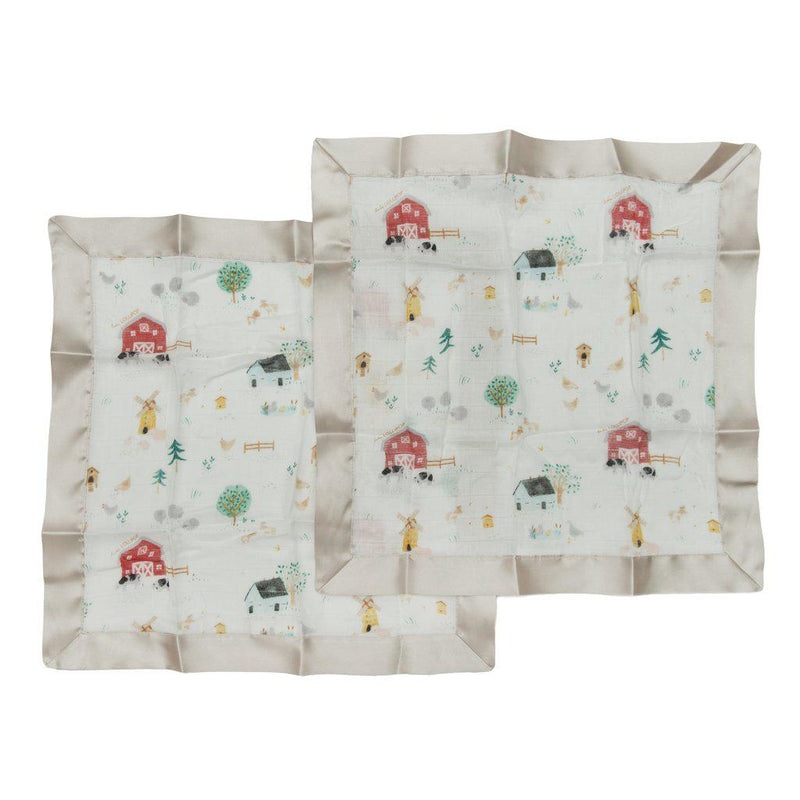 LouLou Lollipop Security Blanket 2pk - Farm Animals