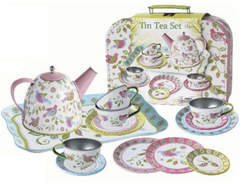 Children's Tin Tea Set w/ Carry Case - Bird