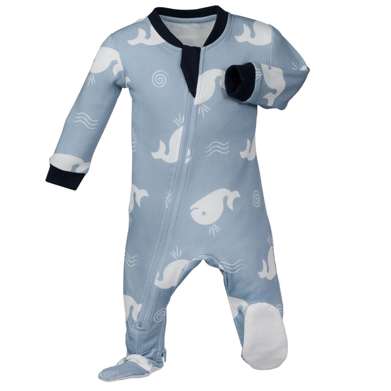 ZippyJamz Footed Coverall - Bub Bub Beluga
