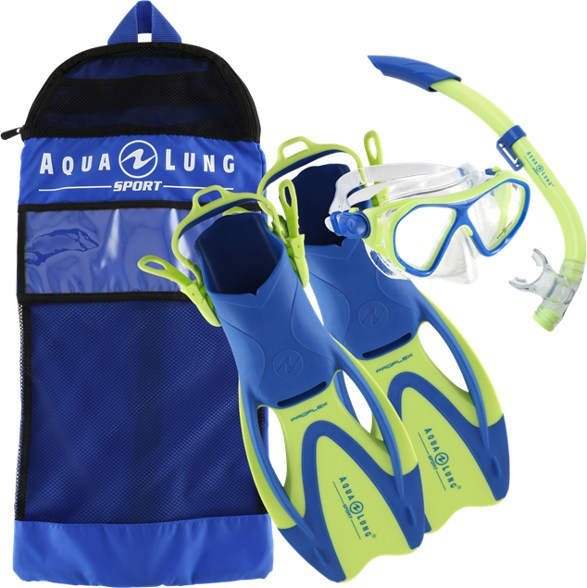 Aqua Lung Urchin Mask Pike Snorkel & Zinger Fin Set - Blue/Green