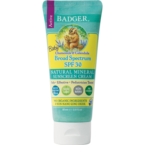 Badger Balm SPF 30 Baby Sunscreen Cream - Chamomile & Calendula