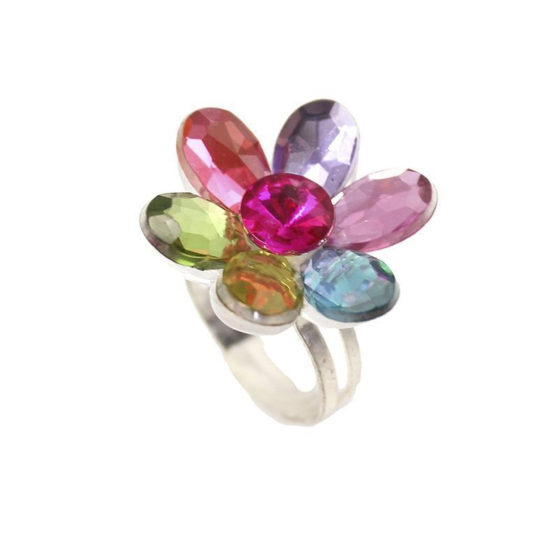 Flower Gem Rings Asst