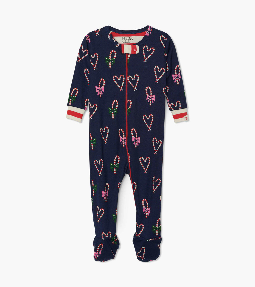 Hatley Baby Organic Cotton Footed Coverall - Candy Cane Hearts
