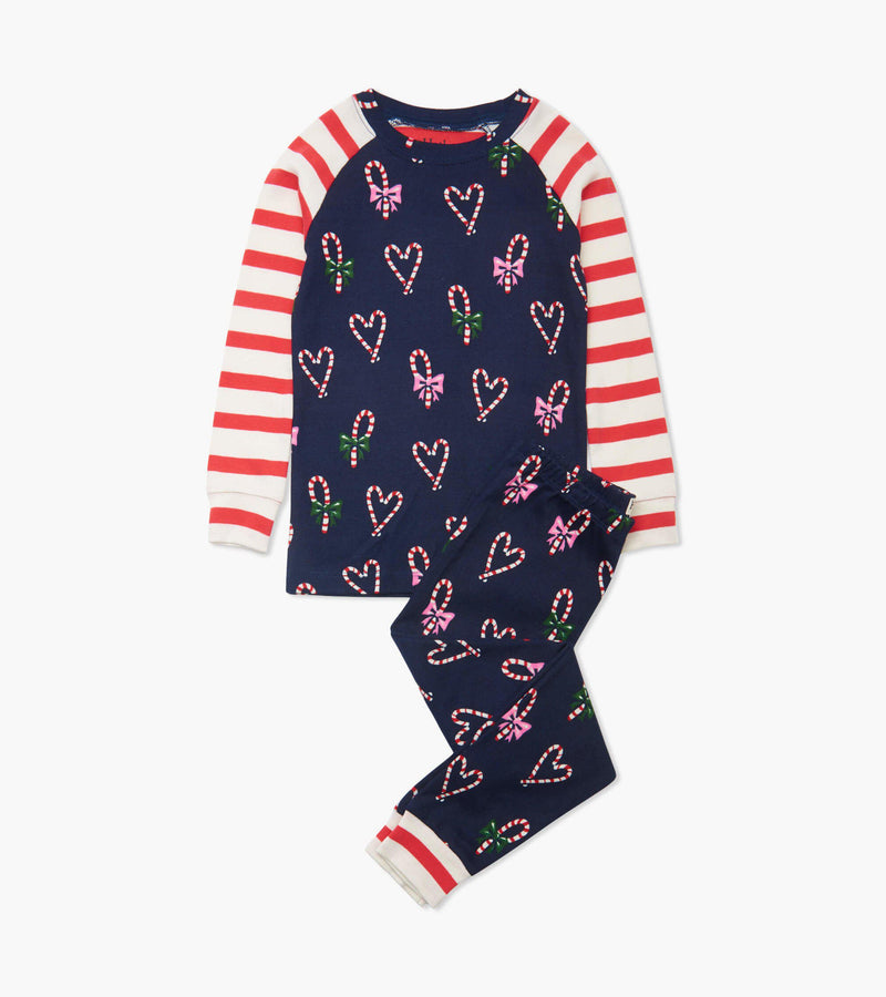 Hatley Organic Cotton Pajama Set - Candy Cane Hearts