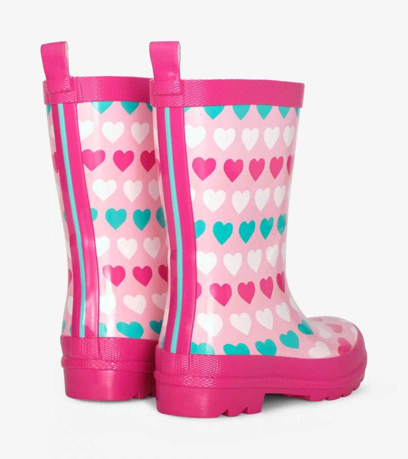 Hatley Rain Boots - Shiny Multicolour Hearts