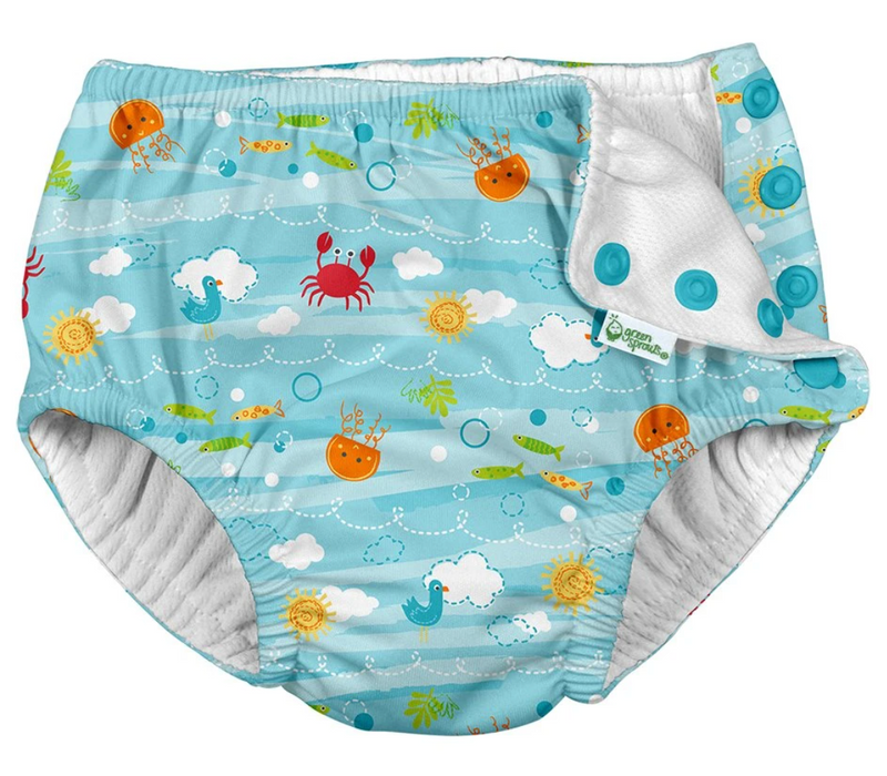 Green Sprouts i-Play Swim Diaper - Light Aqua Sea Friends