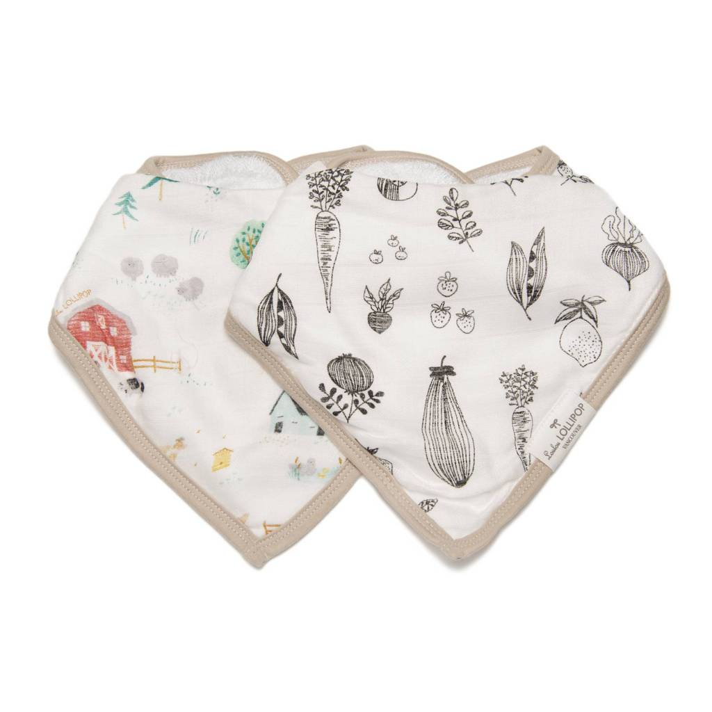 LouLou Lollipop Bandana Bib Set - Farm Animals