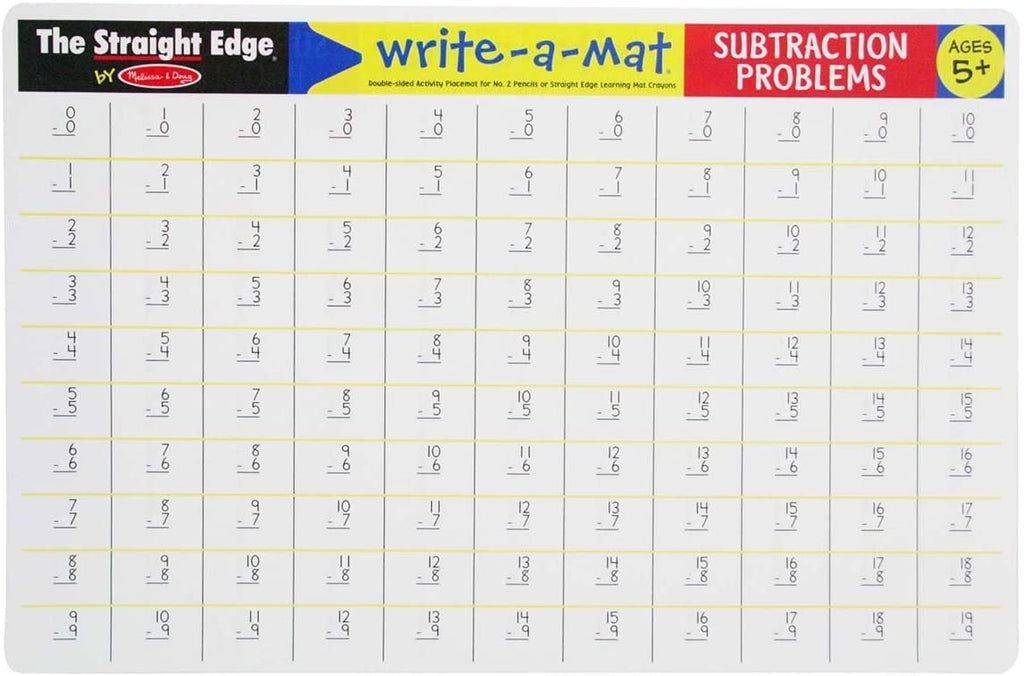 Melissa & Doug Write-A-Mat - Subtraction Problems