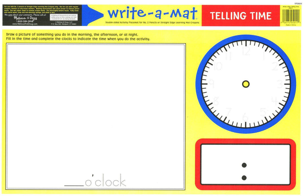 Melissa & Doug Write-A-Mat - Telling Time
