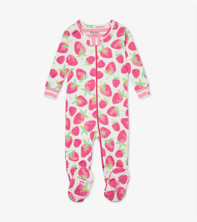 Hatley Baby Organic Cotton Footed Coverall - Delicious Berries