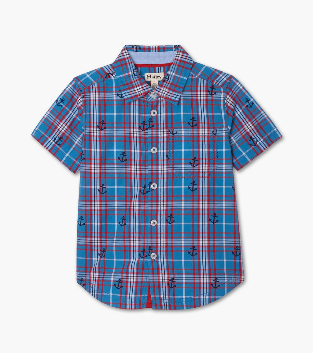 Hatley Button Down Shirt - Blue Plaid Short Sleeve