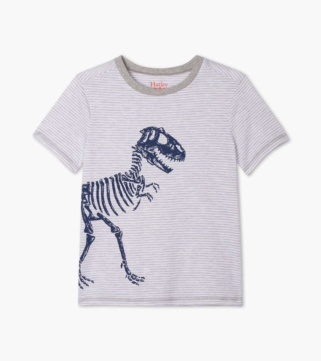 Hatley T Shirt - T-Rex Grey Stripes