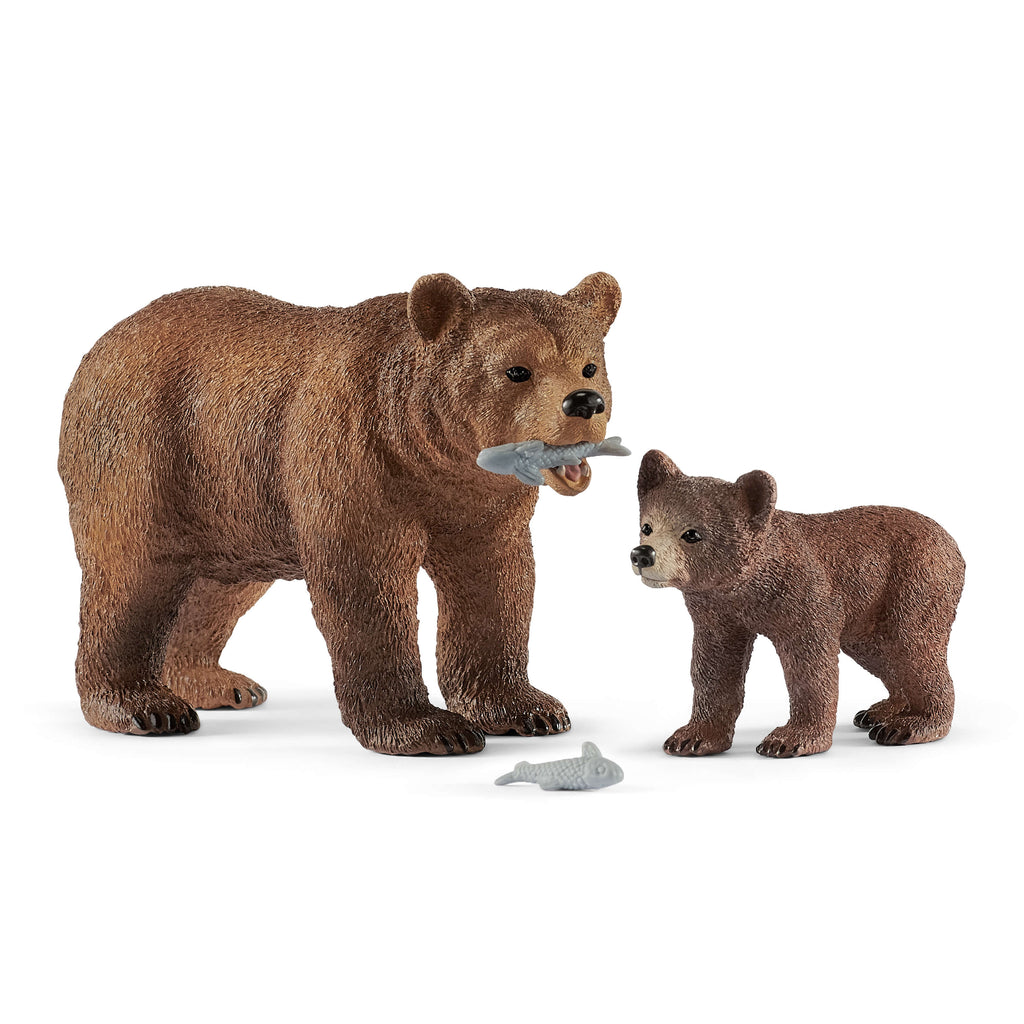 Schleich Grizzly Bear Mother & Cub With Fish
