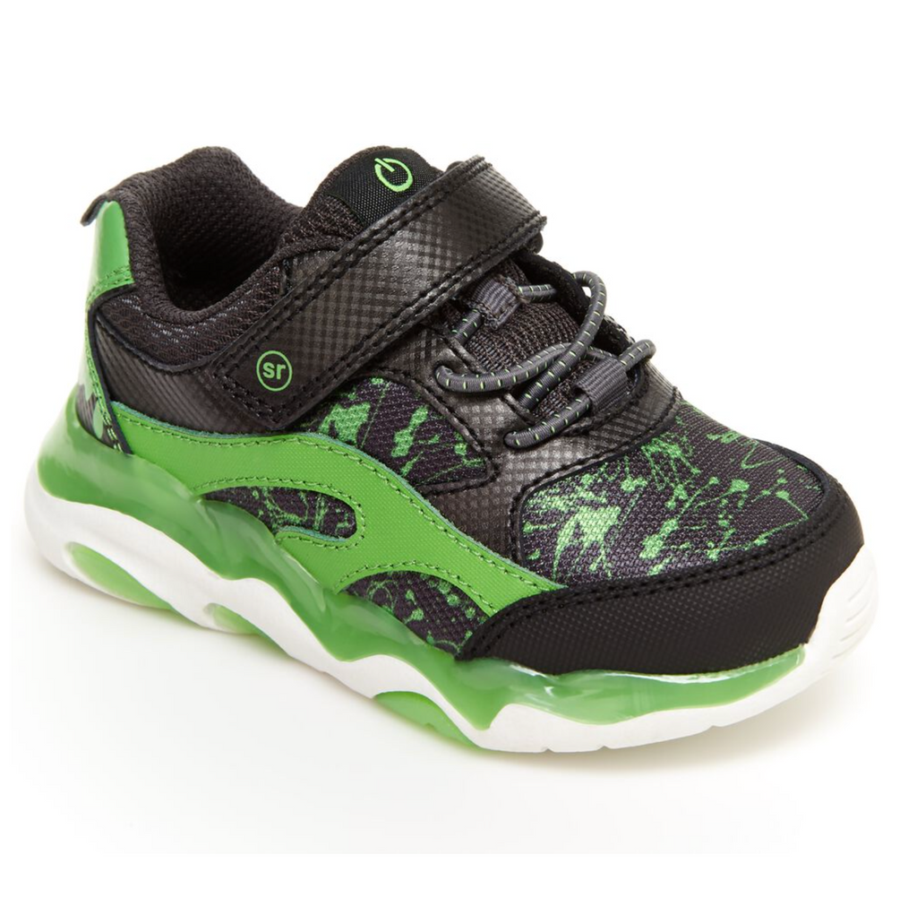 Stride Rite Light Up Swirl Sneaker - Black/Lime