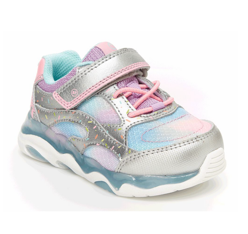 Stride Rite Light Up Swirl Sneaker - Silver/Multi