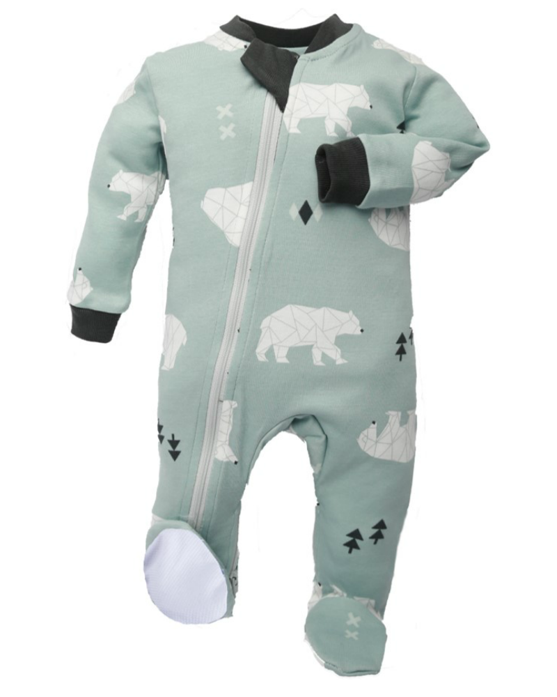ZippyJamz Footed Coverall - Be Beary Quiet - Green