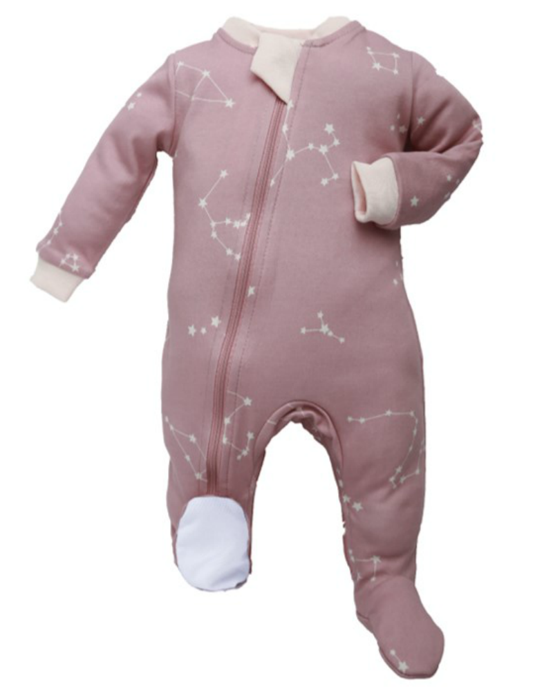 ZippyJamz Footed Coverall - Galaxy Love - Pink