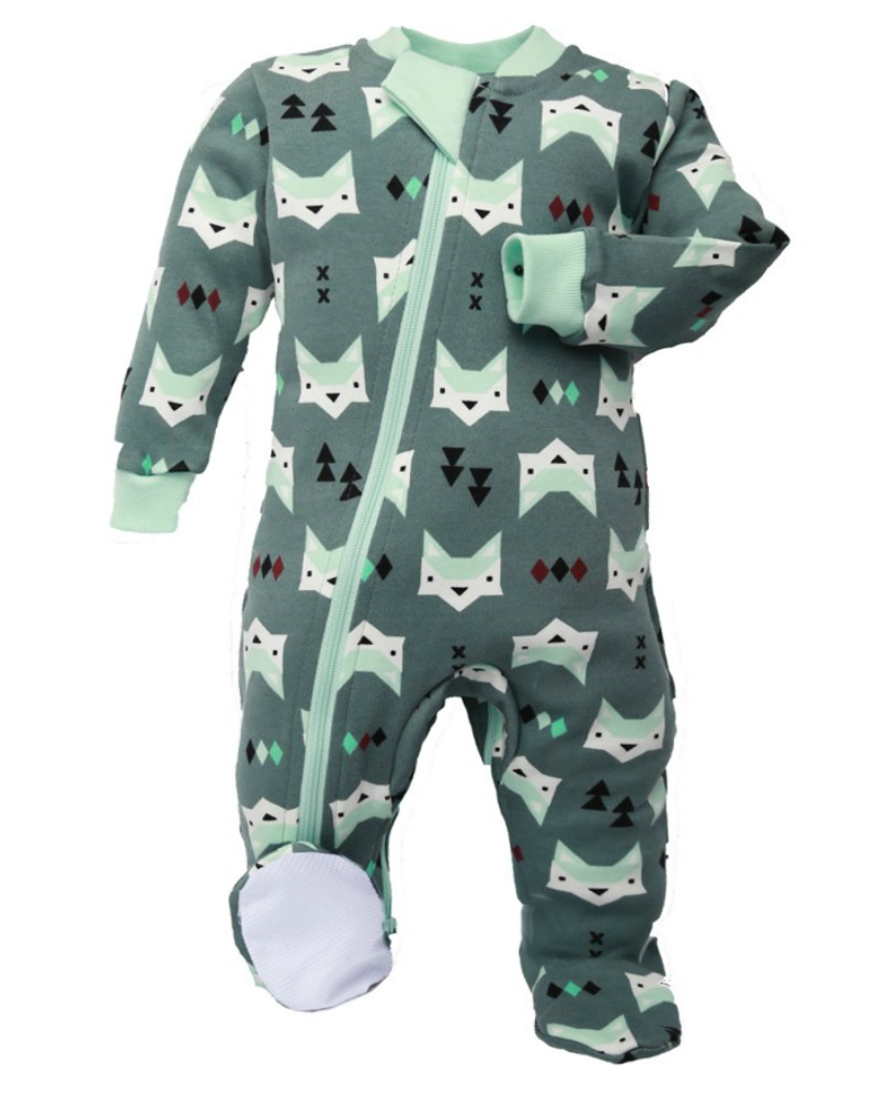 ZippyJamz Footed Coverall - Quiet Fox - Green