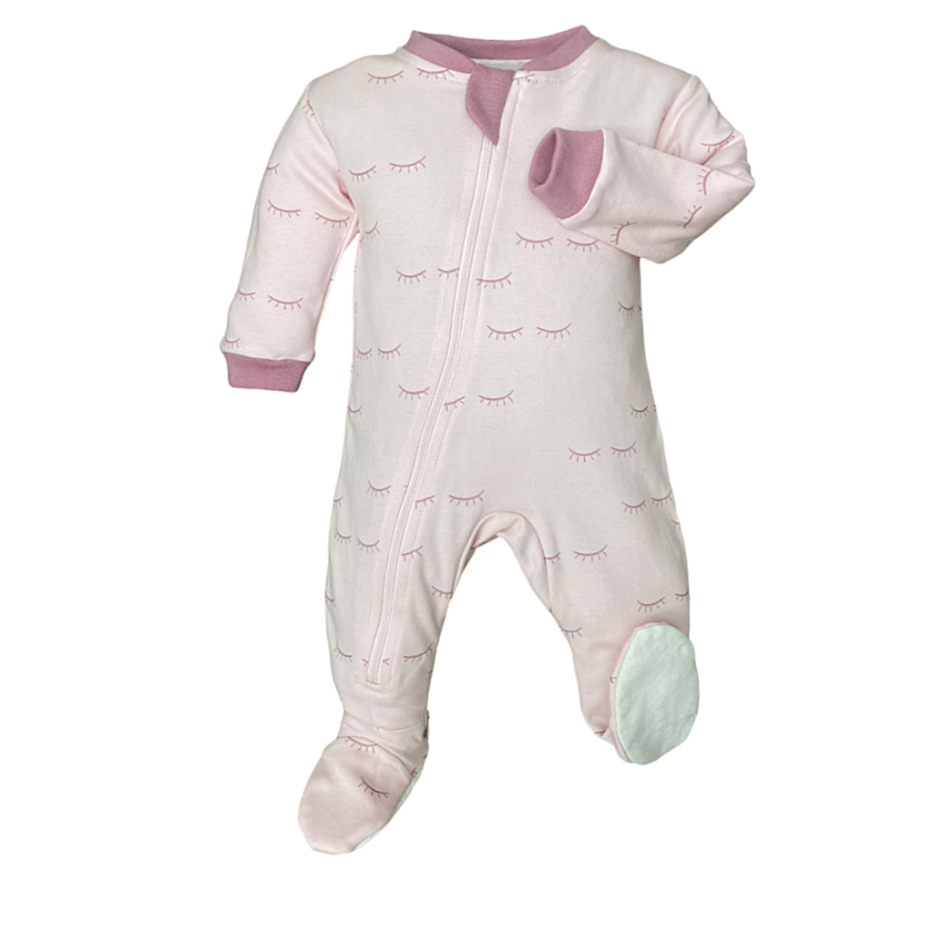 ZippyJamz Footed Coverall - Sweet Lashes