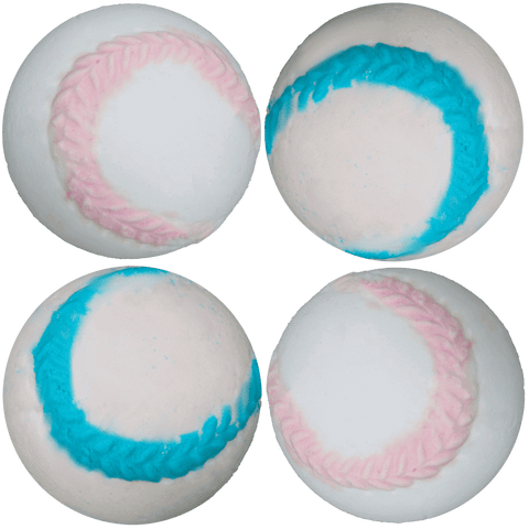 Baseball bath bomb. For that little sports lover! With a burst of bubble gum.