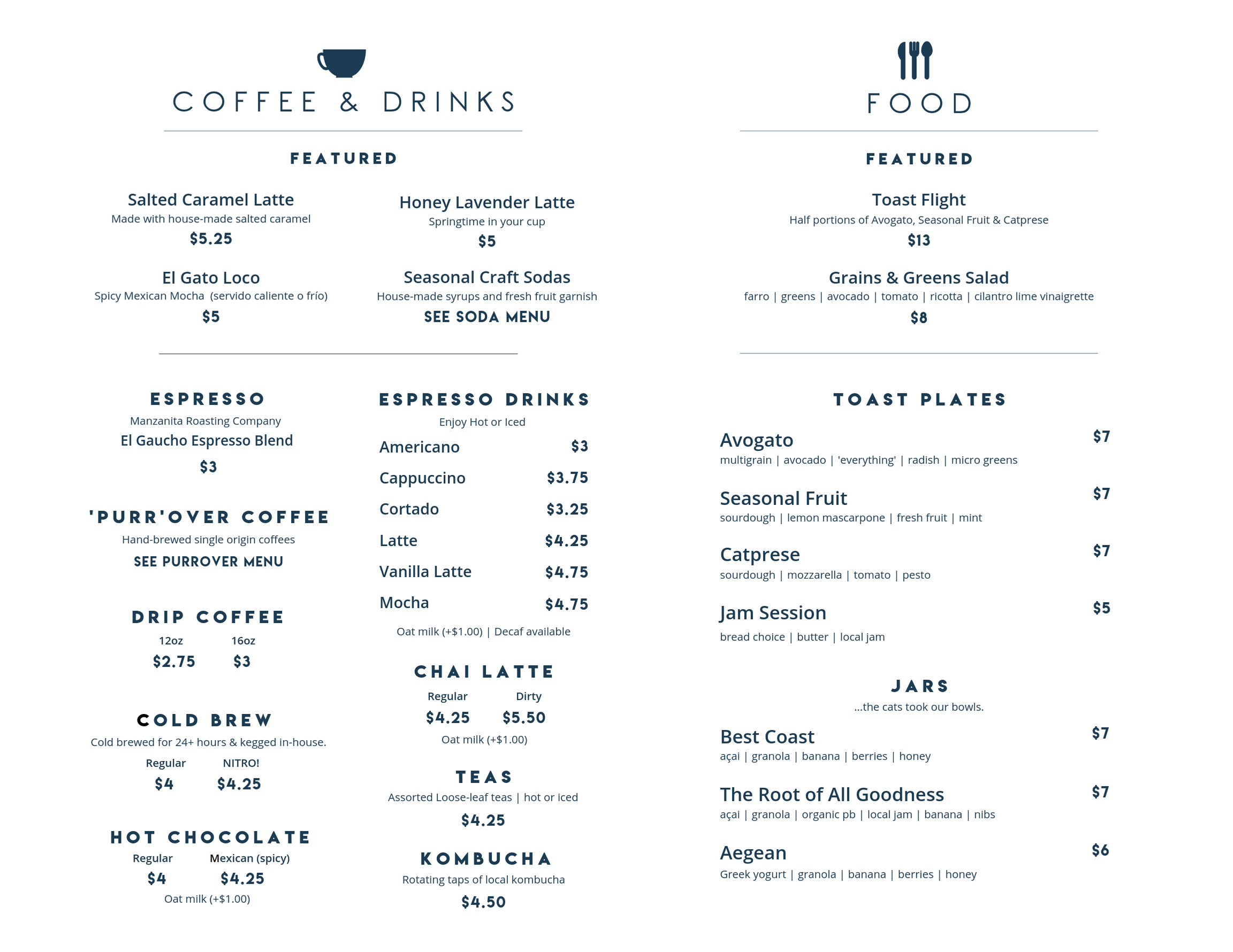 Cat & Craft Food & Drink Menu