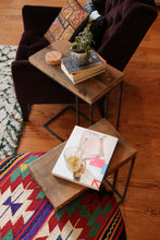 Living room styling of Workshop-25 streeterville side tables - Industrial reclaimed wood side tables with couch, 3 feet tall, brown wood, black and gray steel, sturdy design, industrial, minimal furniture style, turkish kilim ottoman with purple chair and moroccan rug