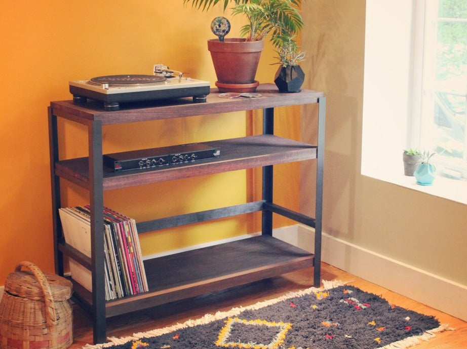 Living Room Styling Of Workshop 25 Roscoe Record Player Table   Industrial  Reclaimed Wood Shelf