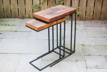 Patio styling of Workshop-25 streeterville side tables - Industrial reclaimed wood side tables stacked / nesting, 3 feet tall, brown wood, black and gray steel, sturdy design, minimal furniture style